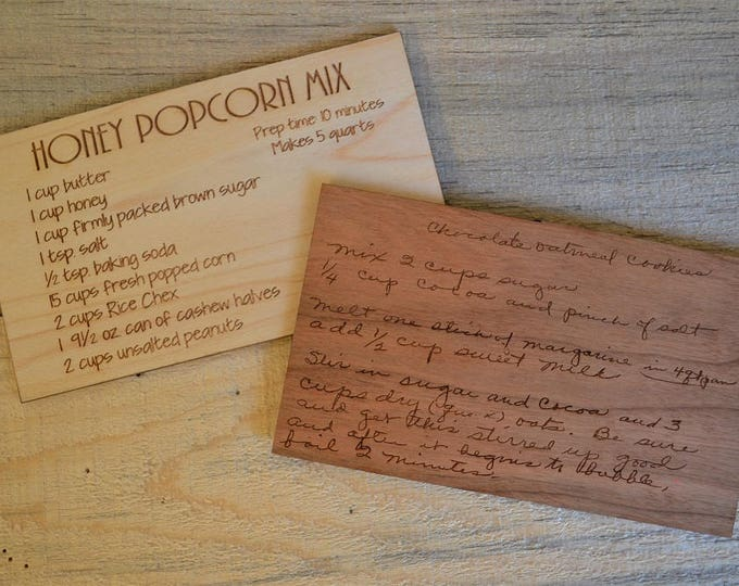 CUSTOM Wood Recipe Card Engraved with Original Handwriting or Typed in a Fun Font (Please see order and pricing notes in description below!)