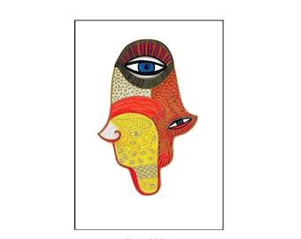 Hamsa Hand Print, Hand of Fatima, Hand Symbol, Hamsa Hand Art, Judaica Art, Modern Judaica Art, Design Print, Spiritual Art, Home Decor Art