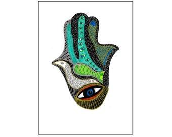 Hamsa Hand Print, Hamsa Art, Hamsa Hand, Modern Judaica, Judaica, Wall Decor, Hand of Miriam, Khamsa Art, Colorful print, Graphic Decor