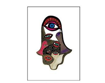 Wall Decor, Hamsa Hand, Hamsa Art, Hamsa Design, Modern Judaica,Hand of Fatima,Hand of Miriam,Dove Art,Eyes Art,Graphic Wall Art