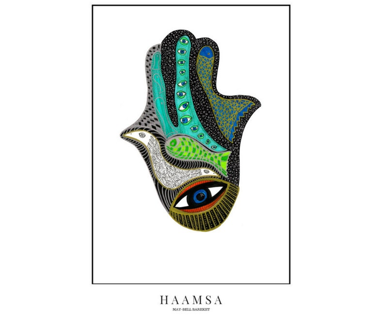 Hamsa Hand Print by May-Bell Bareket A4 size fits standard image 0