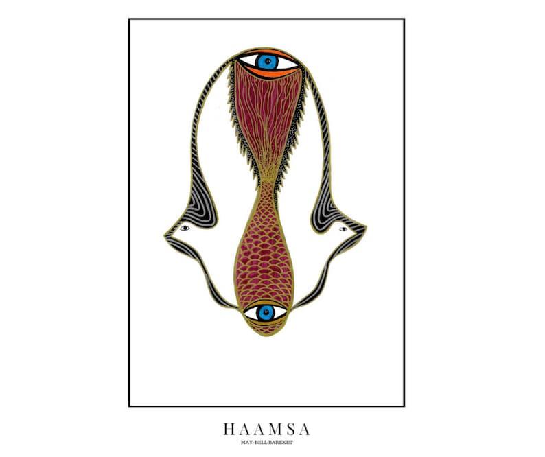 Hamsa Hand Print  Abstract Hamsa Khamsa Hand Hand of Fatima image 0