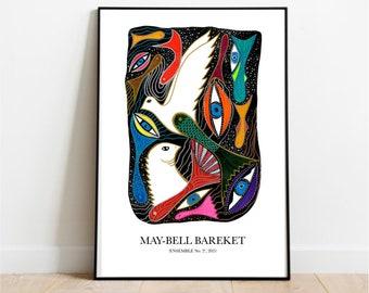 Graphic poster, Ensemble no 2, Art Poster, Colorful Art Poster, Doves, Modern Poster, Danish Design, Home Decor, Wall Art