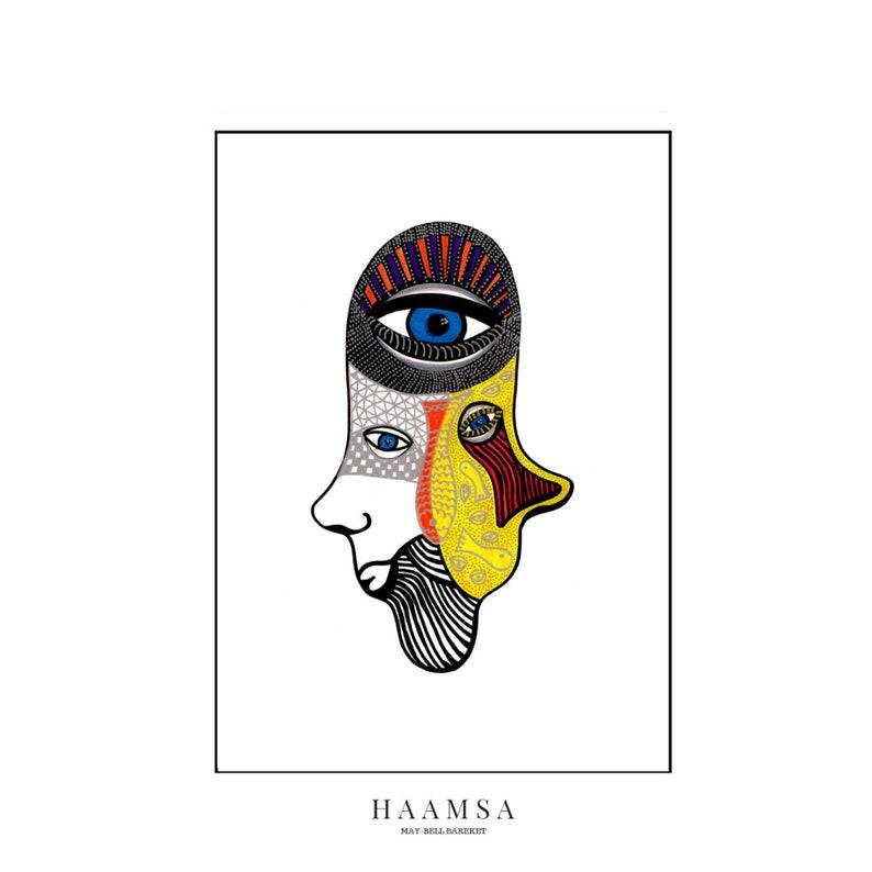 Signed print Hamsa Hand Poster Hamsa Hand Art Modern Hamsa image 0