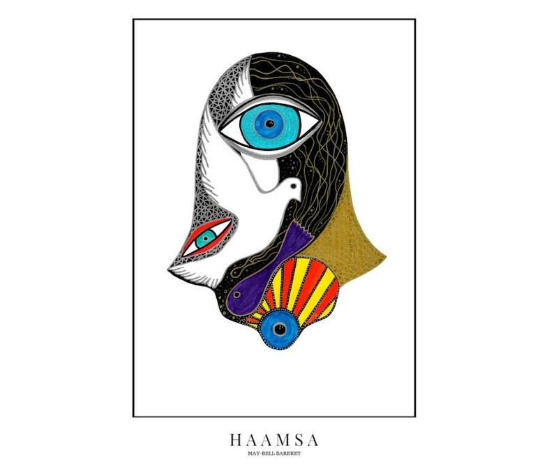 Hamsa Hand Print Nazar Eye Hamsa  Khamsa Hand Israeli Art image 0