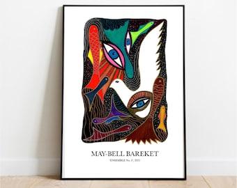 Graphic poster, Ensemble no 3, Art Poster, Colorful Art Poster, Doves, Modern Poster, Danish Design, Home Decor, Wall Art