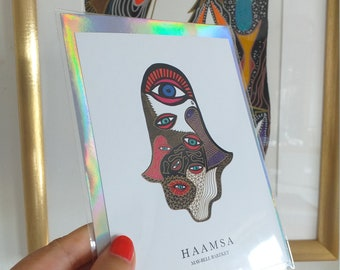 Greeting Card, Hamsa Hand, Judaica, Modern Judaica, Hamsa Card with envelope, Stationary, Design Card, Museum Shop Postcard, Size A6