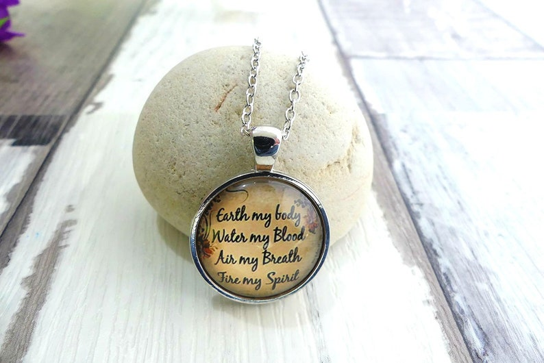 Glass Necklace Meaningful Necklace Pagan Jewelry Best Gift Life Quote Wiccan Necklace Girlfriend Gift Quote Jewelry Wiccan Jewelry