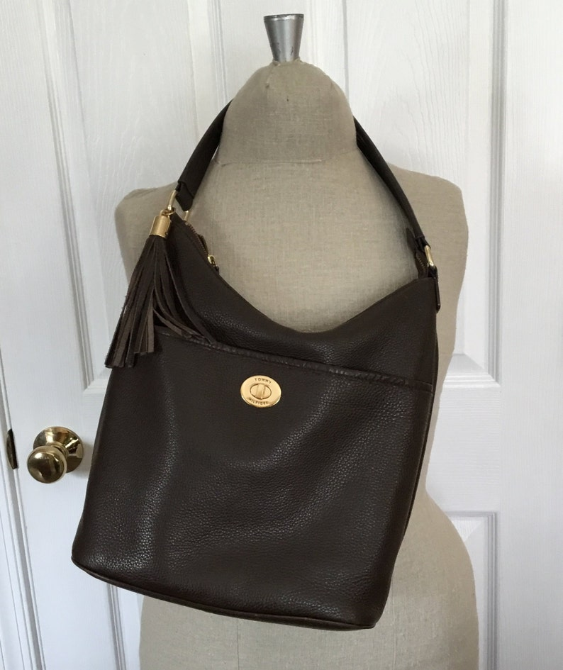 bbcbe7e259 Vintage Chocolate Pebble Leather Handbag/gift/Tommy Hilfiger/free shipping