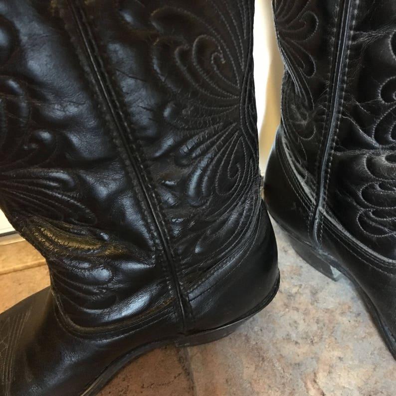Vintage Black Leather Cowboy BootsLaredowestern bootsgift