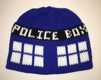 1e208b26542 Doctor Who - Tardis Inspired Beanie with Pom - Made to Order