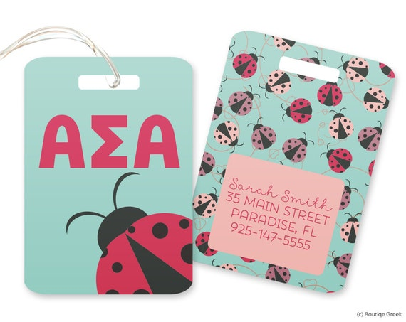 ASA Sigma Alpha Alpha coccinelle personnalisé bagages sac Tag sororité