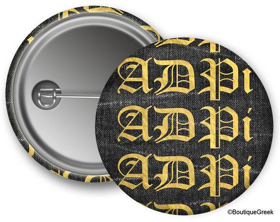Adpi Alpha Delta Pi Old English Sorority Greek Button Etsy
