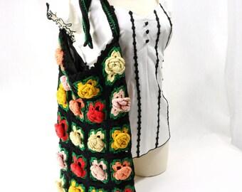 Vintage Crochet Purse Rose Flower Rosettes Black Red Yellow Gold Orange Yarn Lined