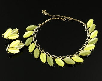 Chartreuse Moonglow Necklace Earring Set Shades of Yellow Green Thermoset Leaves Gold Tone