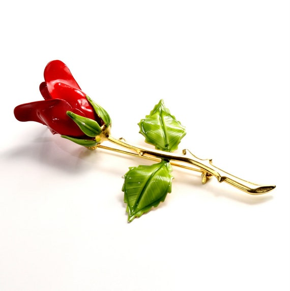 Red Aurora Borealis and Green Crystals Dark Red Rosebud Boutinniere Rhinestone Brooch Pin with Red