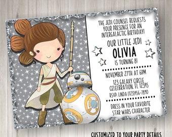 Star Wars Rey BB8 Birthday Invitation