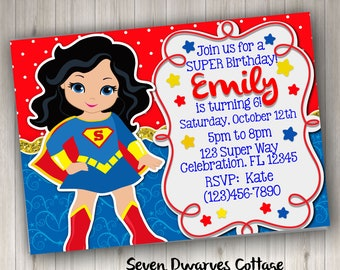 Personalized SuperGirl Inspired Birthday Invitation