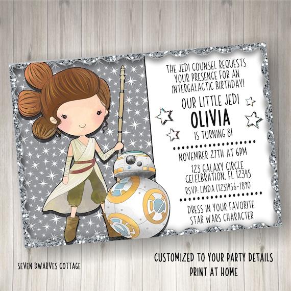 Personalized Star Wars Rey BB8 Birthday Invitation Girl