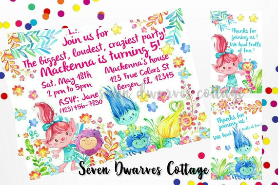Personalized Trolls Birthday Invitation Cute Fairy