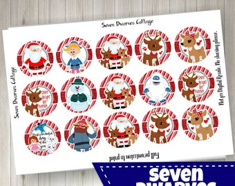 Rudolph and Friends, Clarice Santa 4x6 one 1 inch bottle cap image bci -  Christmas Reindeer bottle cap cupcake toppers - 2 sheets