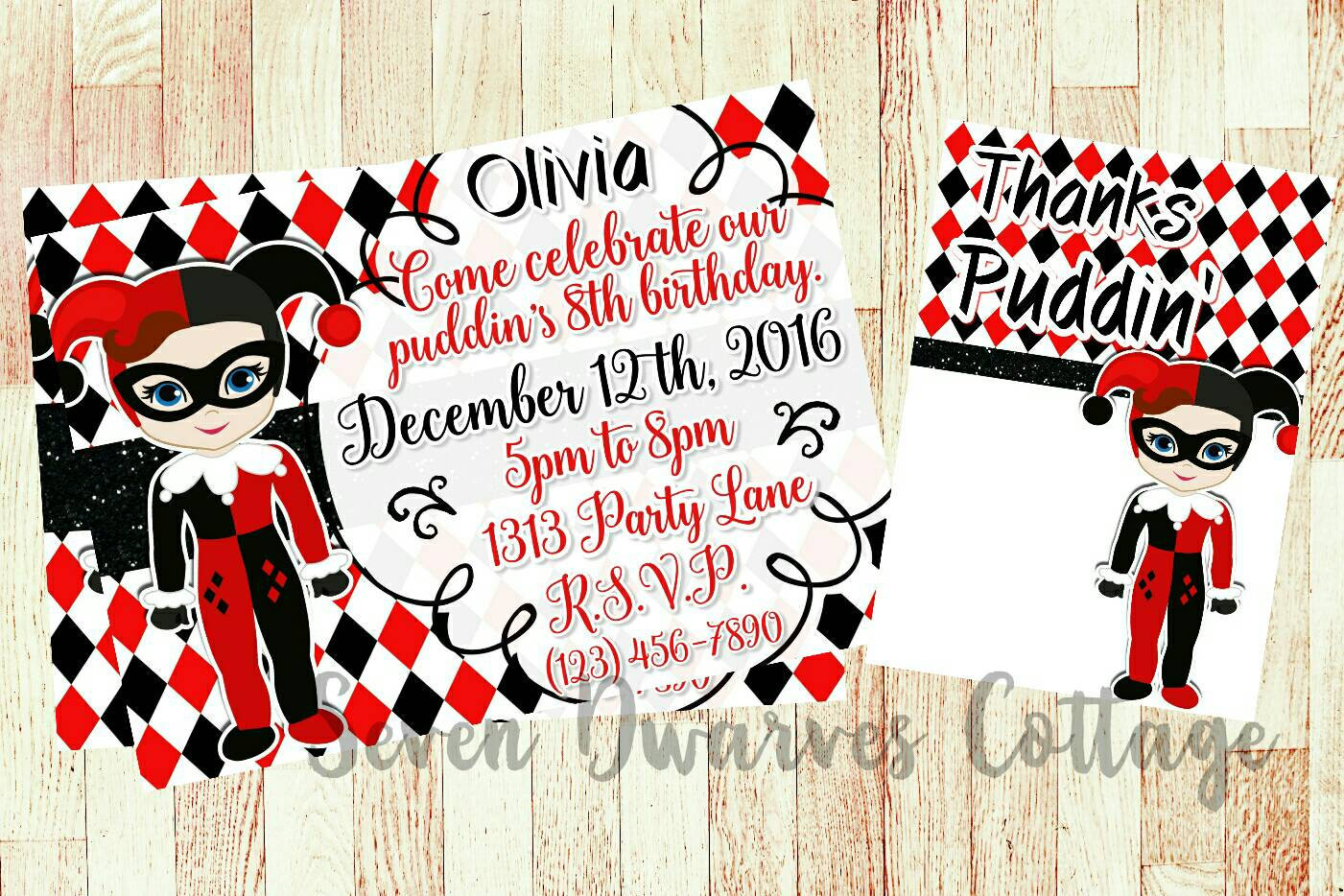 Personalized Harley Quinn inspired Birthday Invitation | Etsy