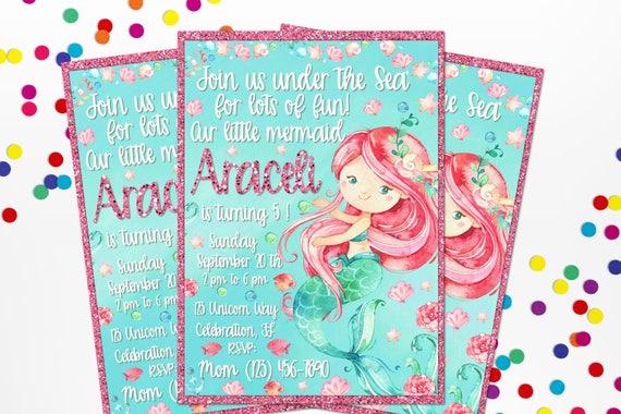 Personalized Watercolor Mermaid Birthday Invitation Under
