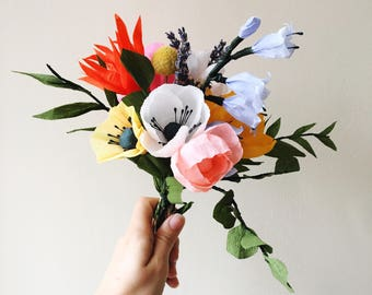 Colourful Paper Bouquet, Lasting Flowers for Mum, Mother's Day Gifts Under 50, Alternative Mom Bouquet Ideas, Handmade Paper Wildflowers,