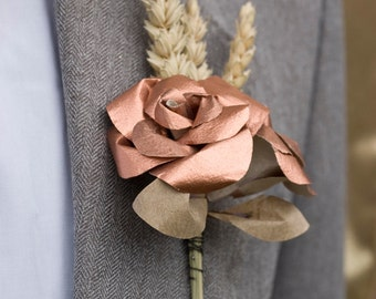 Copper and Wheat Paper Buttonhole, Rustic Wedding Boutonniere, Mens Wedding Accessories, Metallic Rose Gold Paper Flowers, Wedding Decor