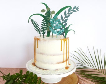 Greenery Wedding Cake Topper, Tropical Party Decor, Foliage Cake Decorations, Jungle Birthday, Leaf Toppers, Overgrown Dessert Topper