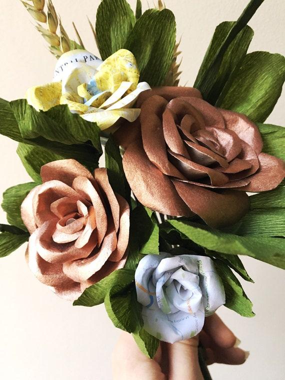 Brautstrauß Kupfer / Rose Gold und grün / Karte Blumen / Reise | Etsy