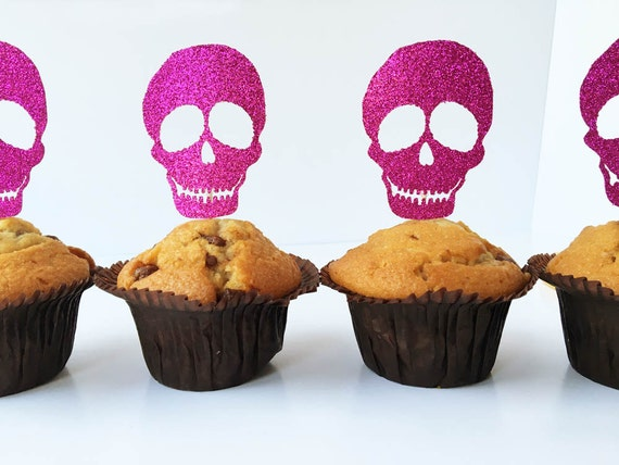 Glitter Skull Cake Toppers Halloween Cupcake Toppers Pink Etsy