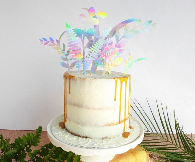 Unique Wedding Cake Topper Iridescent Party Decor Colourful Etsy