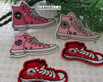 ffd0194350f7 set of 5 converse patches pink embroidered fabric iron on Patch sew pattern  fusible DIY Applique design
