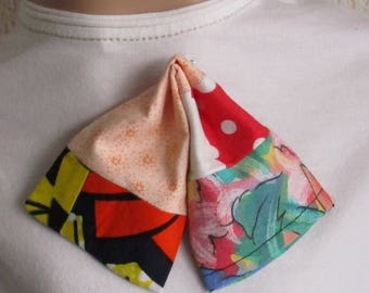 Spiral brooch Bow tie, lavalière, handmade patchwork brooch, in various fabrics hand stitched wax fabric brooch, lavandarian tie