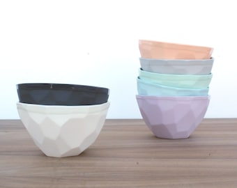 slip cast faceted geo ice cream bowl