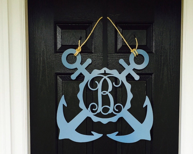 Metal Nautical Double Anchor Front Door Wreath, Nautical Anchor Monogram Door Hanger- monogrammed metal wreath, monogram door hanger,