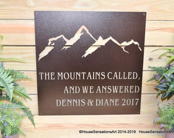 The Mountains are Calling Custom Metal Sign | Personalized Mountain Sign | Cabin Sign | Outdoor Metal Sign | Personalized Metal Sign