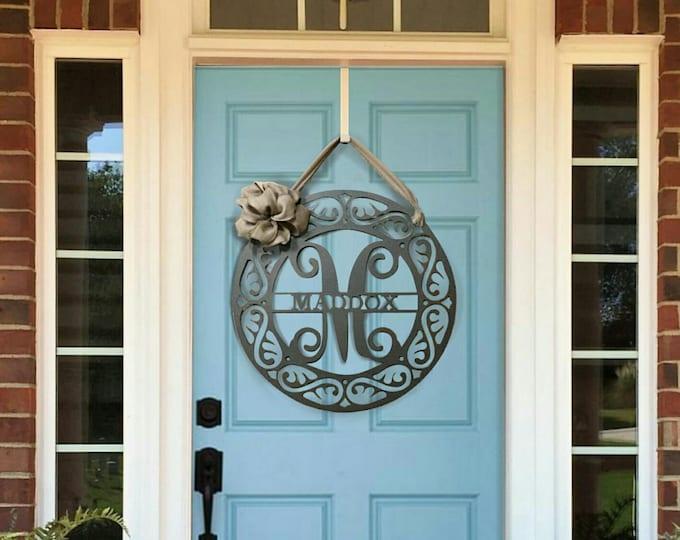 Fancy Monogram Front Door Wreath with Ribbon