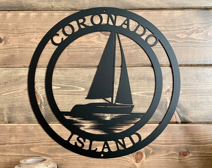 Personalized Sail Boat Island Metal Sign | Sailing Custom Metal Sign | Nautical Boating Sign | Welcome Beach Sign | Lake House Sign