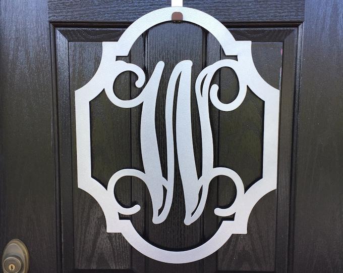Wingate Scalloped Monogram Door Wreath, Family Sign,