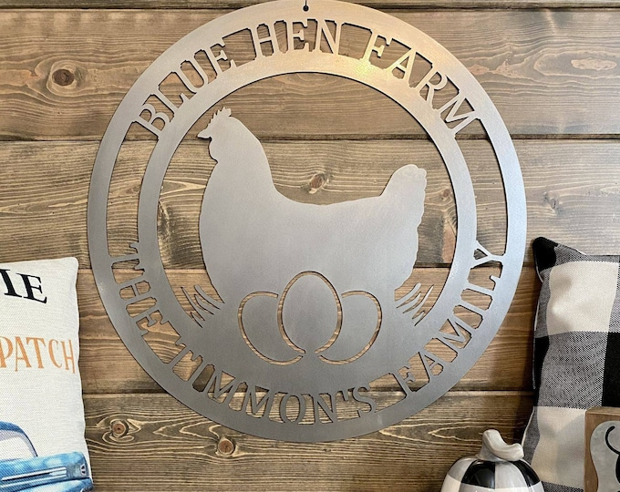 Metal Rooster Farm Sign   Chicken Sign   Farmhouse Sign   Personalized Roster Sign   Rustic Decor