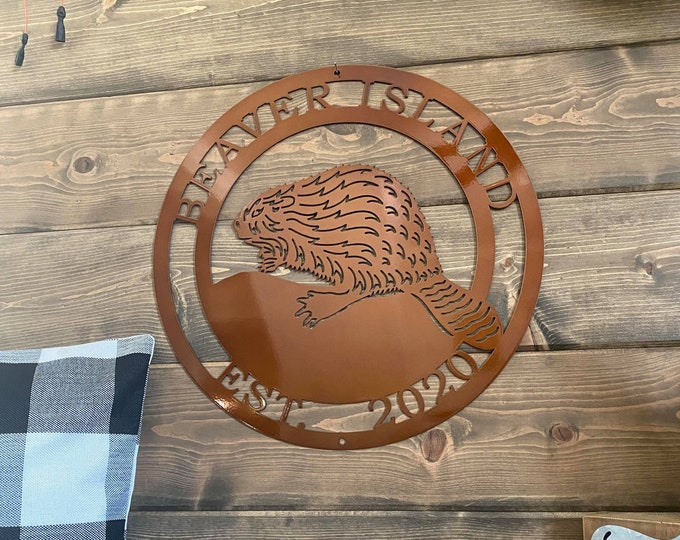 Personalized Beaver Sign | Last Name Established Sign | Woodland Creature Sign | Rustic Farmhouse Decor | Beaver Sign