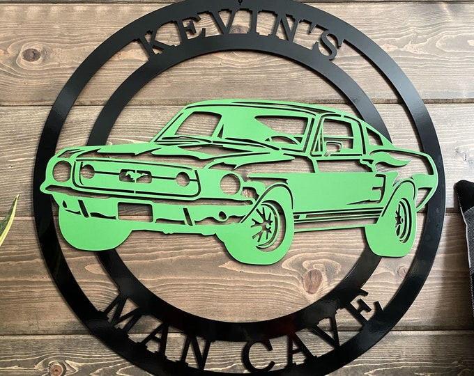 Personalized Two-Color 1967 Ford Mustang   Race Car Custom Metal Sign  Race Car Birthday Gift   Man Cave Decor   Two-Toned Sign