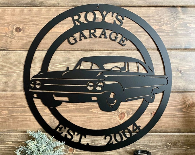 Personalized 1961 Ford Galaxie Established Metal Garage Sign   Race Car Custom Metal Sign  Man Cave Decor   Last Name Sign