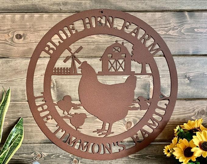 Chicken on Farm Sign   Chicken Sign   Personalized Farm Sign  Barn Sign  Ranch Sign  Farmhouse Decor   Farmhouse sign   Rustic Decor