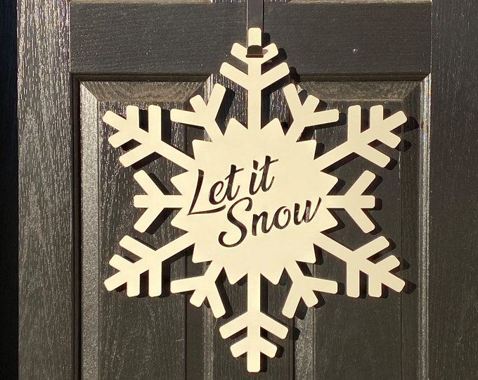 Let It Snow Snowflake Monogram Door Wreath, Snowflake door decorations,