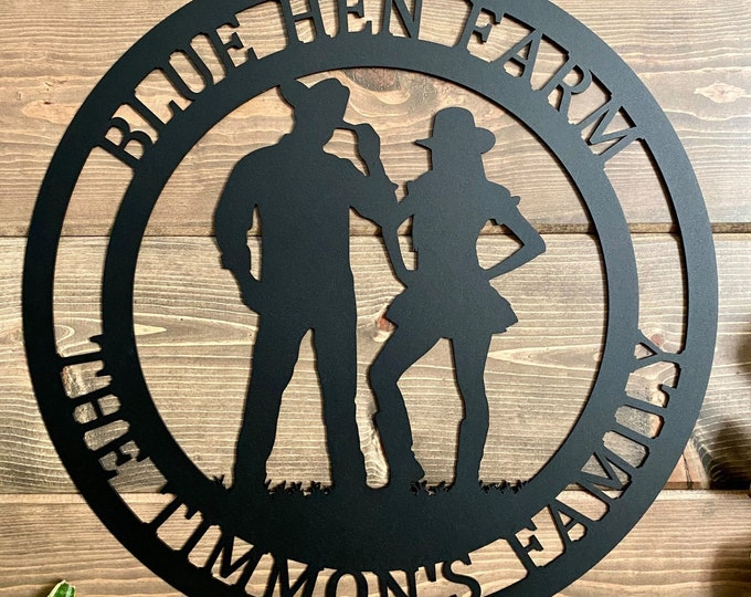 Cowboy and Cowgirl Personalized Sign   Cowboy Cowgirl Couple's Ranch Sign   Custom Made Sign