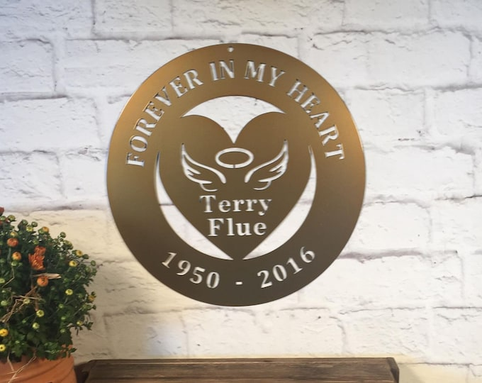 Rest in Peace Angel Wings & Halo Heart Memorial Sign | Forever In My Heart Sign | In Loving Memory Of Sign | Custom Metal Sign