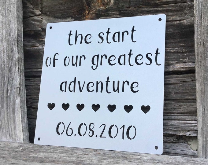 Our Greatest Adventure Personalized Metal Sign, Personalized Wedding Gift for Couple, Anniversary Gift for Husband or Wife, Baby Shower Gift